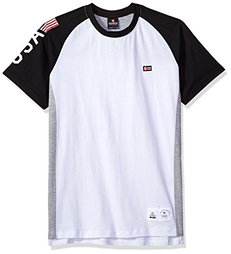 Short Sleeve Logo Raglan T-shirt - Southpole Men's Colorblock Short Sleeve Fashion Tee, Black(Raglan), X-Large