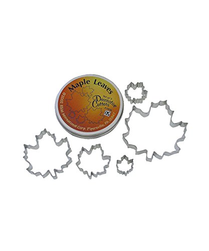 Fall Leaf Cookie Cutter (R & M International Beautiful Set of 5 Assorted Size Maple Leaf Cookie Cutters Largest Cutter is 5