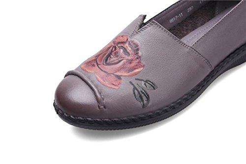 Negro Loafer Otoño Bombas Genuina Fiesta Bottom Piel 5 Gray Nvxie Antideslizante Zapatos Señoras uk Trabajo Eur Pisos Marrón Soft 5 Primavera 38 eur40uk7 Comfort Nueva Rojo Únicos De Ocio z6YTvq