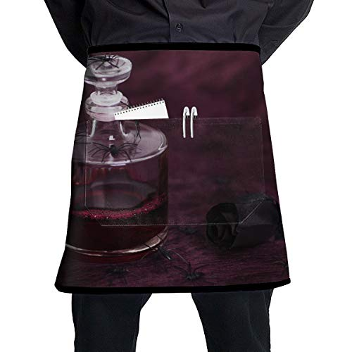 (NBteach Halloween Black Rose Spider Blood Bottle Utility Activity Toolbelt Work Best Mini Prime Supply Customize Half Waist Cooking Apron with Pockets for Kids)