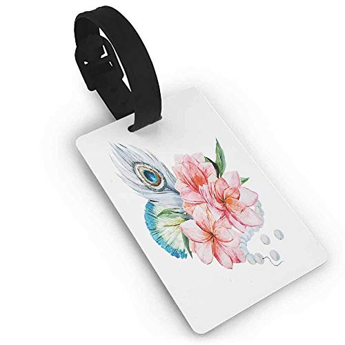 - Leather luggage tag,Shabby Chic Decor,Watercolor Peony Anemone Flowers Peacock Feather and Beads Artful Image,Women's The Getaway Luggage Tag Multicolor