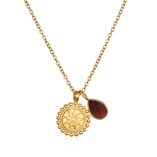 Satya Jewelry Mandala Red Garnet Birthstone Pendant Necklace 16-Inch +2-Inch Extension, One Size - Extension Garnet Necklace