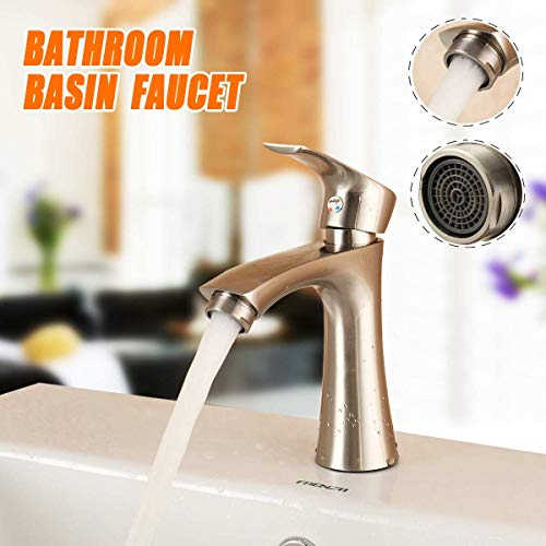 (Zinc Alloy Bathroom Basin Sink Water Faucet Taps Modern Single Handle Cold And Hot Kitchen Faucets Mixer Tap Deck Mounted )