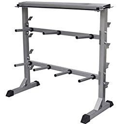 Anself 2 Tier Barbell Dumbbell Rack Weights Storage Stand, Gray