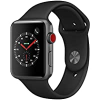 AppleWatch Series3 (GPS+Cellular, 42mm) - Space Gray Aluminium Case with Black Sport Band