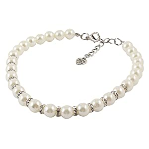White Faux imitation Pearl Ornament Rhinestone Pet Dog Poodle Collar Necklace L