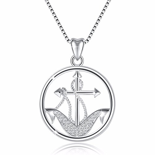 925 Sterling Silver Anchor and Rope Nautical Vintage Pendant Necklace, Box Chain (Anchor Pendant)