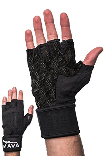 Gym Padding Gloves with Wrist Support for Lifting, Bodybuilding Gloves for Weightlifting Grip, Black M