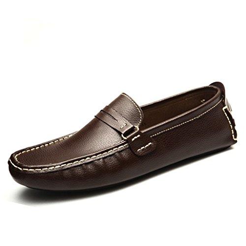 Flats Funda on De Loafers Tipo Conducción Marrón Slip Comfort Rayas Hombres Mocasín Zapatos Piel Minitoo CqtO4gwC