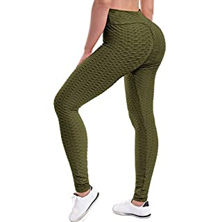 Beyondfab Women's High Waist Textured Butt Lifting Slimming Workout Leggings Tights Olive LX
