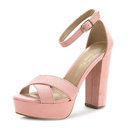 Pink Stiletto Heel - DREAM PAIRS Women's Hi-Go Pink Suede High Heel Platform Pump Sandals - 10 M US