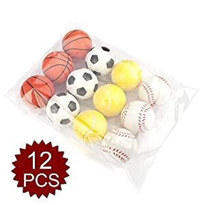 GOGO Squeeze Foam Balls (Pack of 12), Sporty Stress Balls, Party Favor