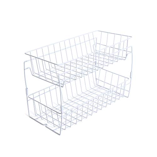 Wire Stackable Basket - Smart Design 2-Tier Stackable Pull Out Baskets - Sturdy Wire Frame Design - Rust Resistant Vinyl Coat - for Pantries, Countertops, Bathroom - Kitchen (18 x 11.75 Inch) [White]