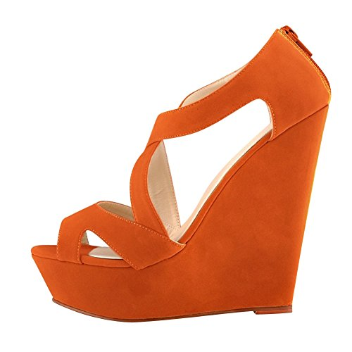 fereshte Women's Faux Velvet Gladiator Strappy Wedge High Heels Platform Dress Sandals Orange US (Orange Platforms Heels)