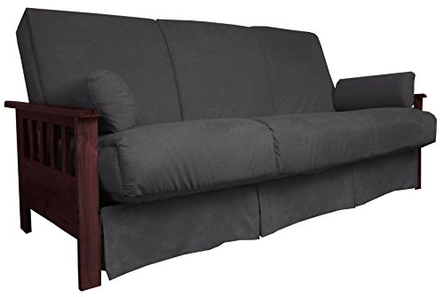 Berkeley Perfect Sit & Sleep Pocketed Coil Inner Spring Pillow Top Sofa Sleeper Bed, Queen-size, Mahogany Arm Finish, Microfiber Suede Slate Grey Upholstery (Top Futon)