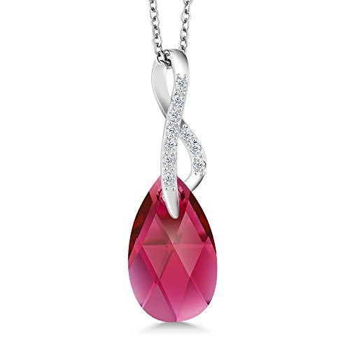 Gem Stone King Nirano Collection Burgundy Red Ribbon Cancer Awareness Pendant Created with Swarovski Crystals - Ribbon Gem