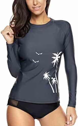 4ff497c5631 maysoul Women's Long Sleeve Rash Guard Shirts UV Sun Protection Wetsuit  Swimsuit