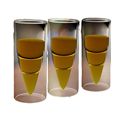 2Pcs Double Layer Glass Bullet Cup Clear Beer Missile Coffee Travel Mug Cup shopping by dipshop