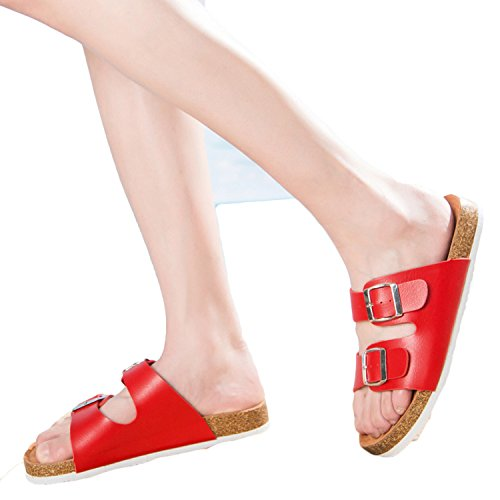 Mistere Summer Leisure Font Sandals Shoes Home Glue Shoes Flat Lovers Cork Word Slippers,red,37 ()