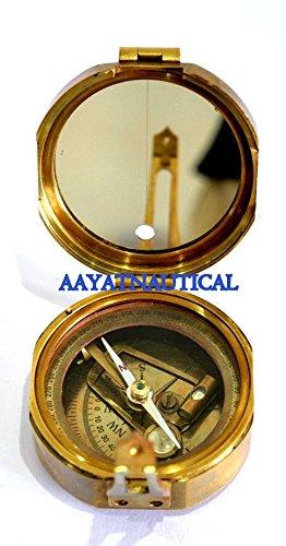 ラウンド形状Antiquated Geologist Brunton Compass真鍮ミラーサイン3