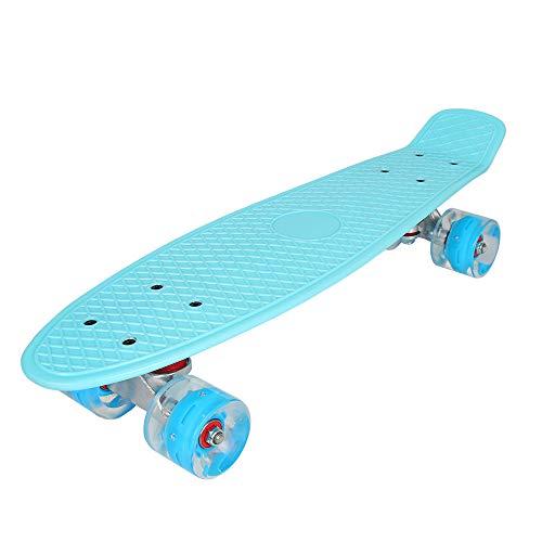 YF YOUFU 22 Inch Skateboard, Plastic Mini Cruiser Complete Skateboards for Beginners/Boys/Girls/Youth/Adults (Azure)