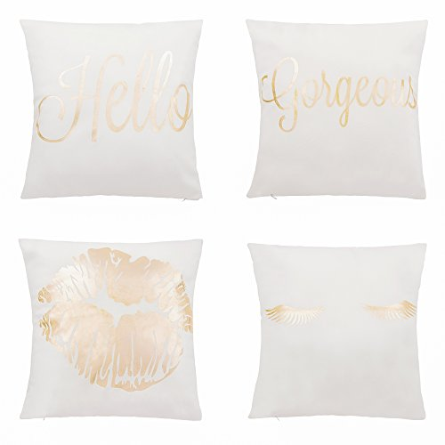 Throw Pillow Covers - 4-Pack Decorative Couch Throw Pillow Cases for Girls and Woman, White Covers with Rose Gold Foil Lettering and Print Design Cushion Covers for Modern Home Décor, - Print Pillow Rose