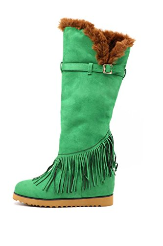 Boîte À Chaussures Kicks Bottes Dhiver En Daim Frangé Vert