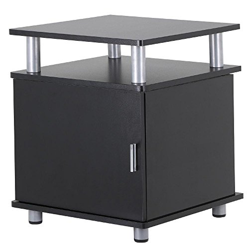 - Topeakmart Wood Sofa/Bed Side End Table with Door and Shelf Bedroom Living Room Furniture, Black