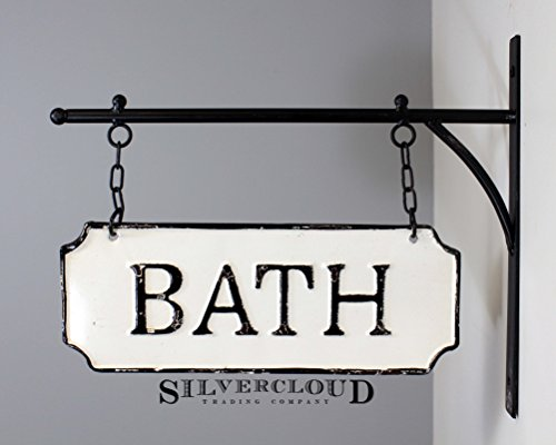 (Silvercloud Trading Co. Rustic Hanging Double-Sided Bath Embossed Black on White Enamel Metal Sign with Bracket - Wall Decor - Room Label)