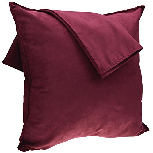 - 2-Pack Cushion Covers New Design Solid Color Comfortable Faux Suede Decorative Throw Pillow Covers 18 x 18 inches Pillowcases for Sofa Couch Living Room Decor, Burgundy