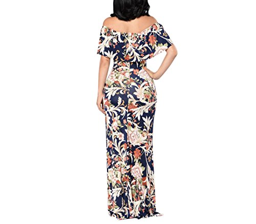 Off Blue Women's Amore Long Navy Party Bridal Bodycon Ruffle Floral Shoulder 2018 The Dress qEOUTw5O
