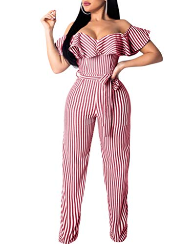 Ophestin Women Sexy Striped Off Should Ruffle Bandage High Waist Wide Leg Long Pants Jumpsuits Rompers with Belt Red S