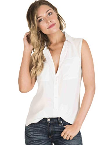 CAMIXA Womens 100% Silk Blouses Ladies Shirt Casual Pocket Button up Elegant Top M White Sleeveless