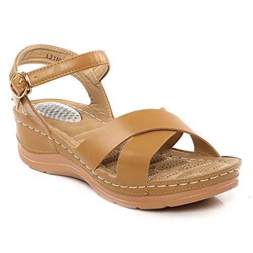 Donna Over Ankle nbsp;uk Design Cross nbsp;nbsp;8 Fibbia 3 Strap Open Scarpe Sandali Casual Con Beige Taglie Estivo Cuneo Comfort Toe Leggero rHqXqx5w