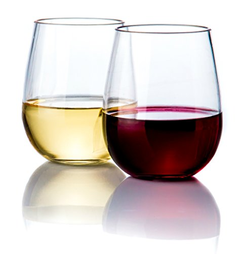Elegant Stemless Plastic Wine Glasses by Savona | Unbreakable Wine Glasses | Ideal for Indoor/Outdoor Use | Dishwasher Safe | 100% Tritan Shatterproof Wine Glasses | Set of 2
