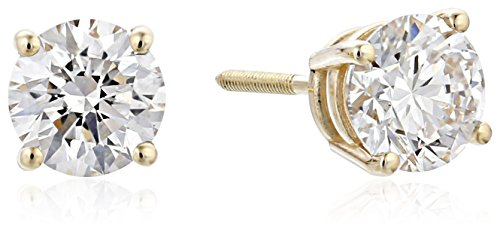 IGI Certified 14k Yellow Gold Lab Created Diamond Stud Earrings (1 1/2cttw, I-J Color, SI1-SI2 Clarity)