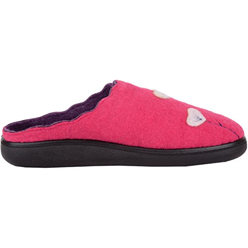 ABSOLUTE FOOTWEAR Womens Soft Felt Slip On Mules/Slippers/Indoor Shoes With Floral Design Fuchsia/Plum PvRrw7EA2