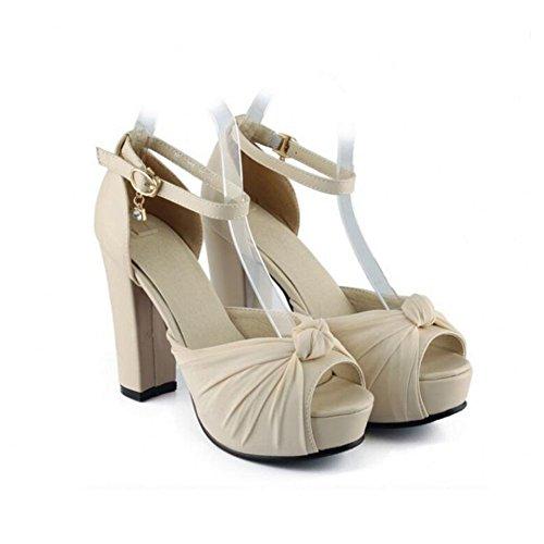 Princesse Taille Épais Femmes Fond Xdgg À Talons Poissons Profonde White 43 40 forme Plate 41 Chaussures Bouche 42 Peu Sandales Boucle Étanche Grande nTOT64
