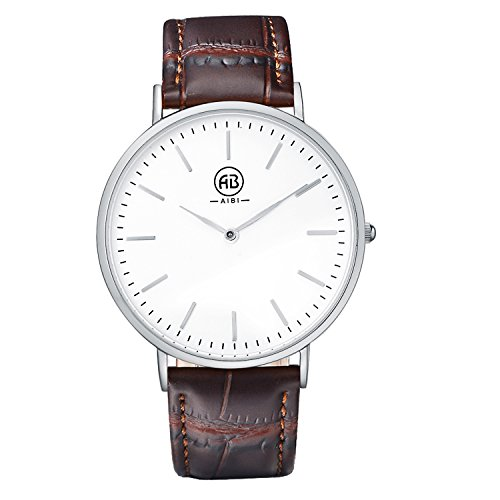 Bezel Silver White Leather (AIBI Men's Watch Brown Genuine Leather 3ATM Waterproof White Case Analog Quartz Dress Watch for Men)
