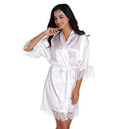 SexyTown Women's Short Satin Lounge Robes Bridesmaids Charmeuse Lingerie Sleepwear (Medium, White Lace)