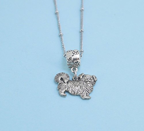 Pekingese Charm Pendant Necklace in silver pewter on a 20 saturn chain. Pekingese necklace. Pekingese jewelry. (Pekingese Jewelry)