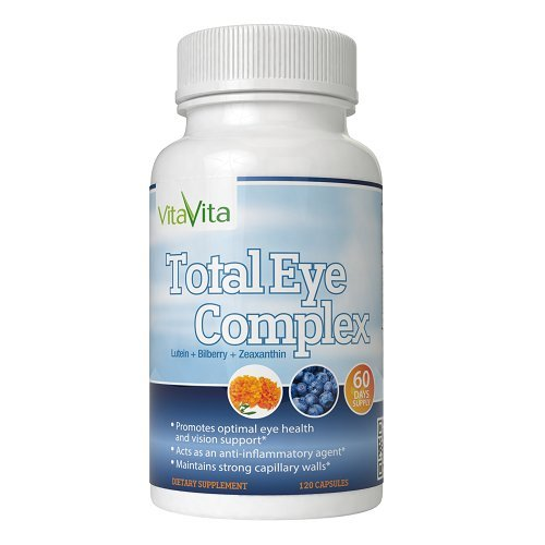 Total Eye Complex with Lutein, Bilberry & Zeaxanthin - Support Eye Health & Visual Acuity (120 Capsules)