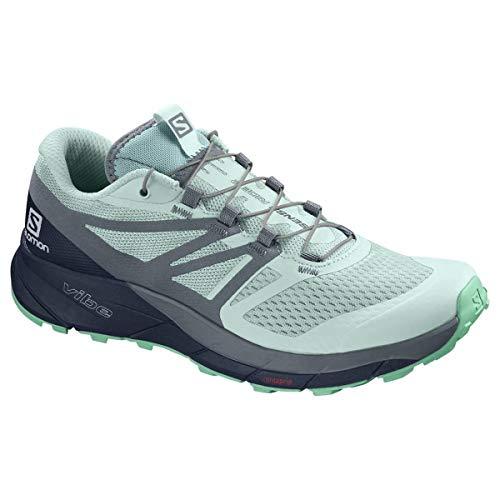 Salomon Sense Ride 2 Womens Trail Running Shoes ICY Morn/Navy Blazer/Electric Green Sz 10 ()