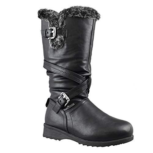 - Comfy Moda Women's Winter Ice Snow Boots Cold Weather Faux Fur Full Lined Manmade Leather Waterloo (8, Black)
