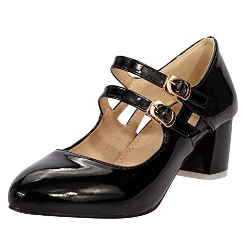 Latasa Womens Buckles Chunky Heels Mary Janes Pumps Black KHLJ8
