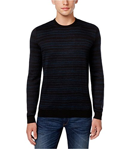 Calvin Klein Men's Merino Space Dye Stripe Crew Neck Sweater, Black, 2X-Large