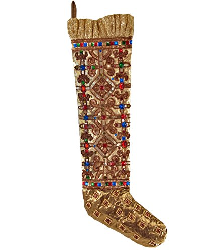 "Katherine's Collection gold Christmas stocking jeweled rhinestone 24"" - Katherines Collection Christmas Stocking"