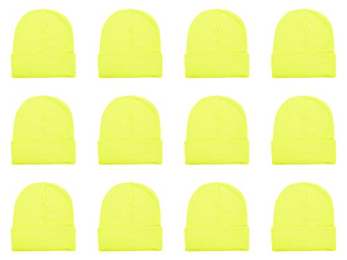 Gelante Unisex Beanie Cap Knitted Warm Solid Color Multi-Packs (12 Pack: Neon Yellow)]()