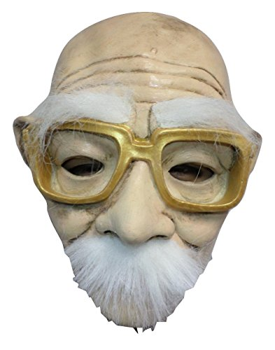 [Halloween Funny Creepy Old Man w/ Gold Glasses Mask] (Old Man Halloween Mask)
