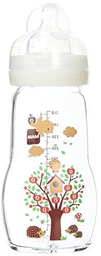 MAM BIBERON VERRE 2 MOIS ET + Garden Blanc Tétine Débit 2 (260 ml)